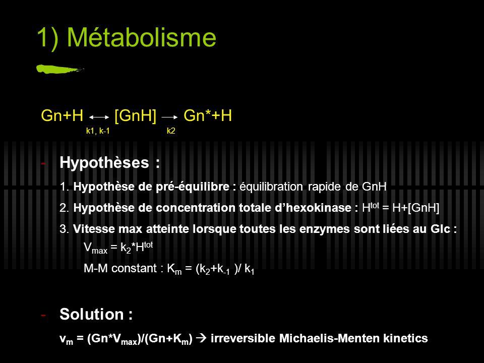1) Métabolisme Gn+H [GnH] Gn*+H Hypothèses : Solution :